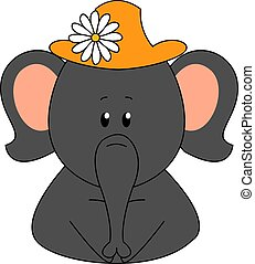 Elephant wearing a hat with flower, illustration, vector on white background.