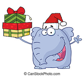 Elephant Wearing A Santa Hat
