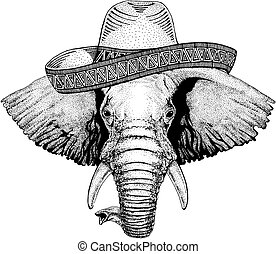 Elephant wearing traditional mexican hat. Classic headdress, fiesta, party.