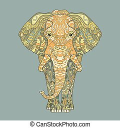 Elephant with a floral pattern