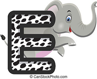 Elephant with alphabet E
