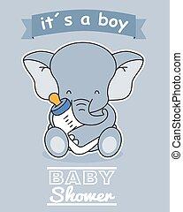 Elephant with baby bottle
