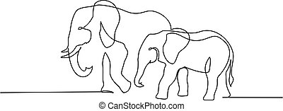 Elephant with baby symbol. one line drawing