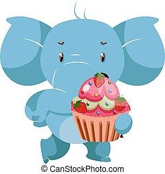 Elephant with cake, illustration, vector on white background.