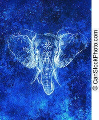 Elephant with floral ornament, pencil drawing on paper. Color effect and Computer collage.