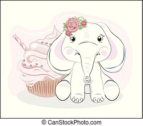 elephant with flower and cupcake
