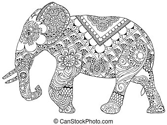 elephant with Indian patterns