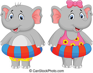 Elephant with inflatable ring - vector illustration of...
