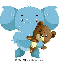 Elephant with teddy bear, illustration, vector on white background.