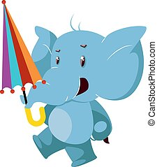 Elephant with umbrella, illustration, vector on white background.