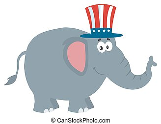 Elephant With Uncle Sam Hat
