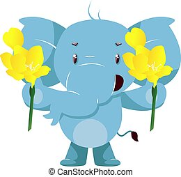Elephant with yellow flowers, illustration, vector on white background.