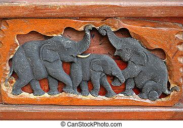 Elephant wood carving