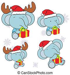 elephant xmas baby claus gift set