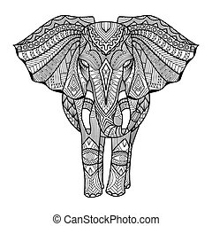 Elephant zentangle - Elephant line art design for coloring...