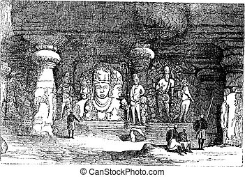 Elephanta Cave in Maharashtra, India, vintage engraving -...