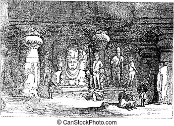 Elephanta Cave in Maharashtra, India, vintage engraving