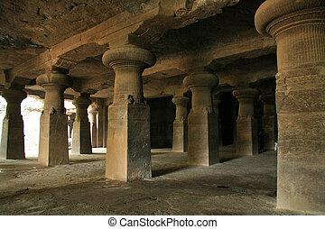 Elephanta Island, Mumbai, India - Pillars - Elephanta Island...