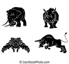 Elephant,Rhino,Tiger and Bull Tatto