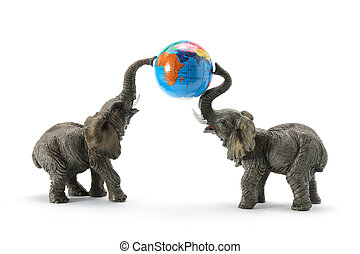 Elephants and World Globe