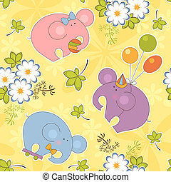 Elephants baby seamless pattern