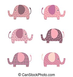 Elephants cartoon illustration vector set