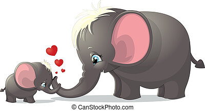 elephants - two elephant on a white background