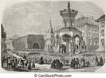 Elephants fountain in Chambery and children waiting Napoleon III and Empresse Eugenie arrival. Created by Fichot after Marc, published on L'Illustration, Journal Universel, Paris, 1860