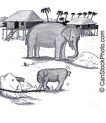 Elephants Held Captive - Older and younger pachyderm; baby...
