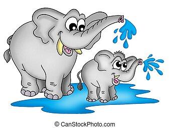 Elephants - Illustration of two elephants. One small a one...