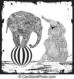 Elephants illustration - two elephants with floral ...