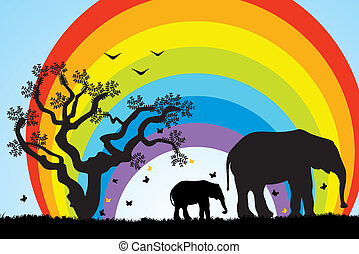 elephants in africa, tree and rainbow