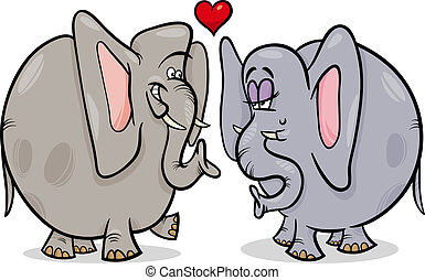 elephants in love cartoon illustration
