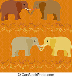 Elephants in love seamless pattern