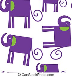 Elephants seamless pattern and seamless pattern in swatch menu, vector illustration