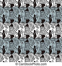 Elephants. Seamless pattern.