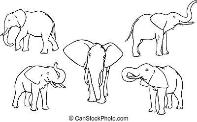 Elephants - Set of vector elephants, black and white, ...