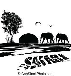 Elephants silhouette in Africa