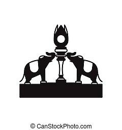 Elephants statue icon, silhouette style - Elephants statue...