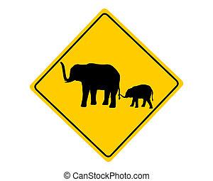 Elephants warning sign