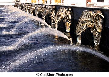 Elephants water fountain at Hindu temple