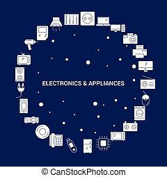 eletrônica, ícone, fundo, eletrodomésticos, criativo