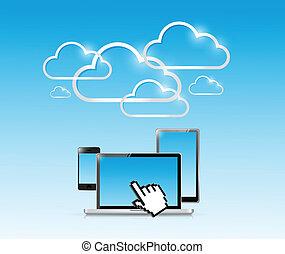 eletrônica, computador, nuvem, ilustração