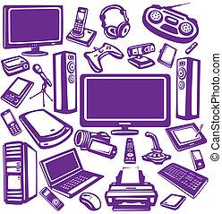 eletrônica, e, computadores, equipamento, ícone, jogo