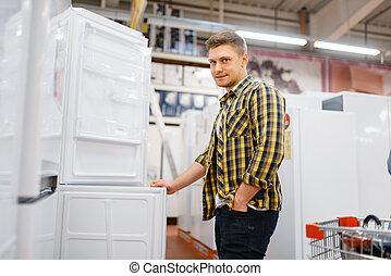 eletrônica, homem, escolher, loja, refrigerador