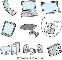 eletrônica, itens, ícones