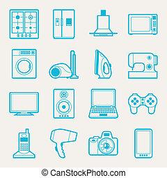 eletrônica lar, jogo, eletrodomésticos, icons.
