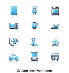 eletrônica lar, marinho, |, ícones