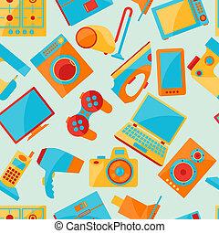 eletrônica lar, patterns., seamless, eletrodomésticos