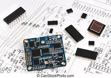 eletrônica micro, elemento, e, esquema